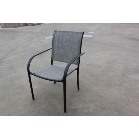 Pevná kovová zahradní židle, textilní polstrování, šedá