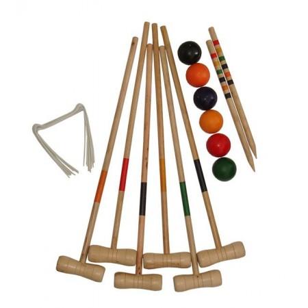 Dřevěná hrací sada na kroket, 6 hráčů