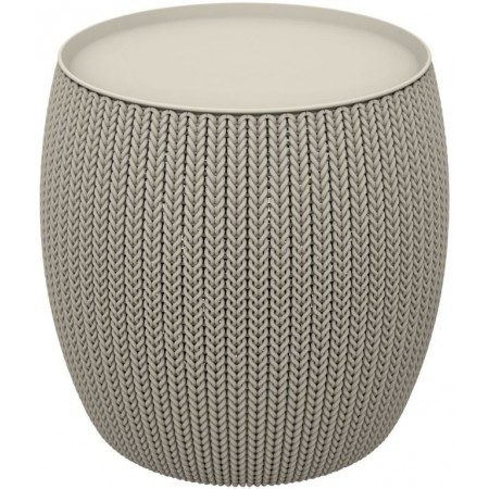 Kruhový designový stolek s úložným prostorem, pískový