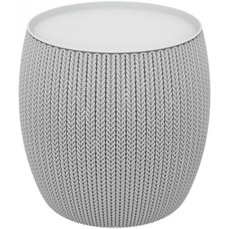 Kruhový designový stolek s úložným prostorem, šedý