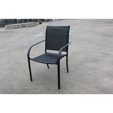 Pevná kovová zahradní židle, textilní polstrování, černá