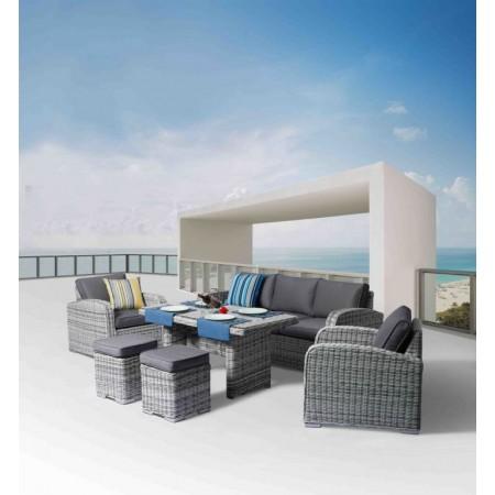 Luxusní souprava zahradního nábytku, umělý ratan, šedá / krémová