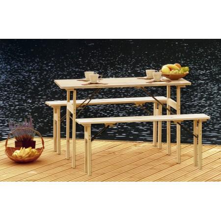 """Skládací """"pivní set"""", dřevěný, stůl + lavice"""