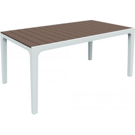 Obdélníkový plsatový stůl, horní deska- imitace dřeva, bílá / cappuccino