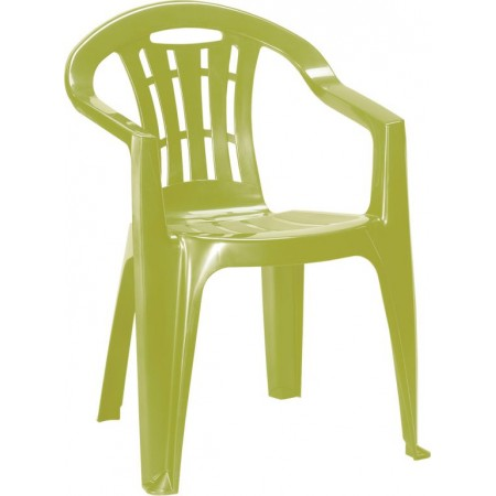 Plastové zahradní křeslo s područkami, lesklé, světle zelené