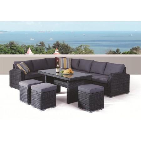 Luxusní zahradní nábytek z umělého ratanu, antracit / šedá