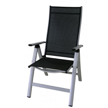 Polohovatelná zahradní kovová židle s textilním polstrováním
