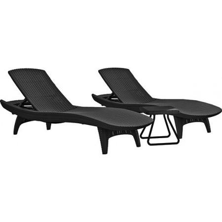Luxusní sada 2 ks polyratanových lehátek + stolek, grafit