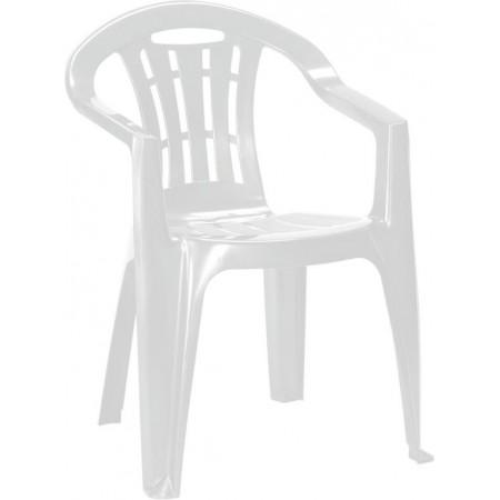Plastové zahradní křeslo s područkami, lesklé, bílé
