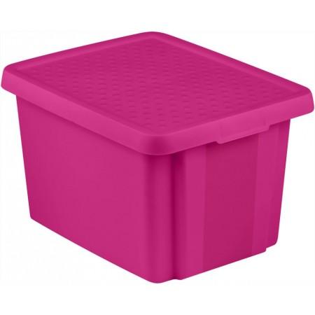 Plastová úložná krabice s víkem 26 l, fialová