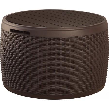 Venkovní plastový stolek s úložným prostorem 140 l, hnědý