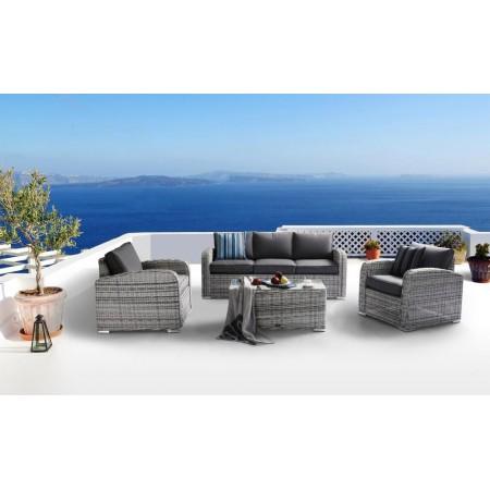 Luxusní sestava terasového nábytku, vč. polstrů, šedá / krémová
