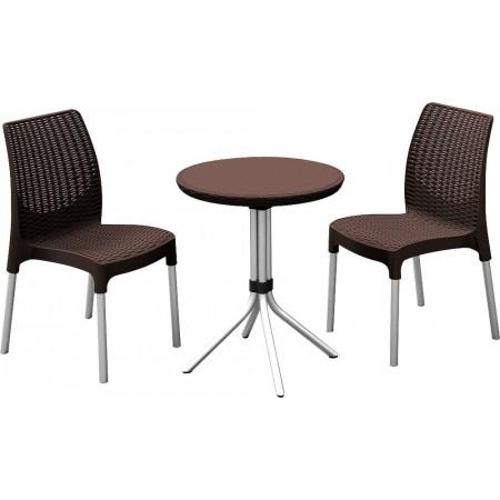 Set nábytku na balkon / terasu, kulatý stůl + 2 židle, hnědý