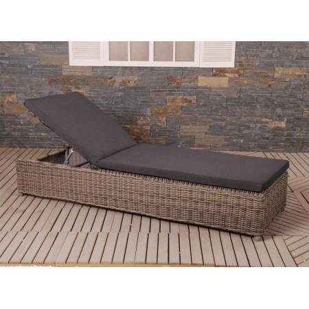 Luxusní ratanové relaxační lehátko, nastavitelný úhel opěradla