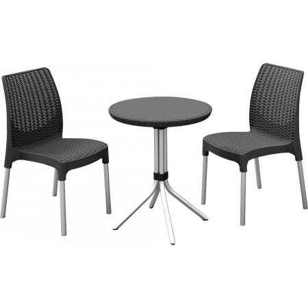 Balkonový set nábytku, kulatý stolek + 2 židle, antracit