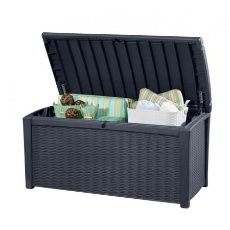 Plastový úložný box na zahradu 416 l, ratanový vzhled, antracit
