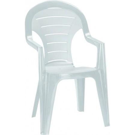 Plastová zahradní židle s područkami a vysokým opěradlem, bílá