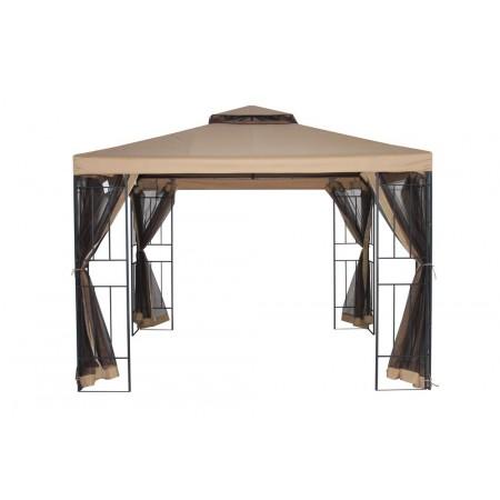 Elegantní zahradní altán 3x3 m, kov. konstrukce, moskytiéra, béžový