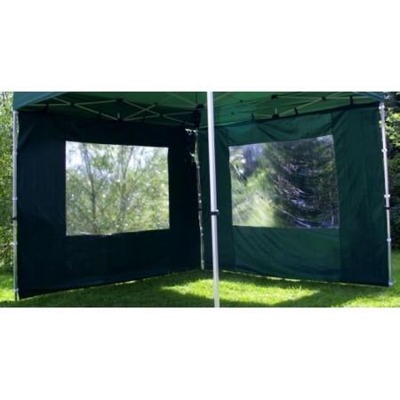 2ks boční stěna pro zahradní stany s okny, zelená