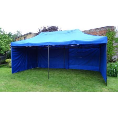 Zahradní párty stan DELUXE nůžkový + boční stěna - 3 x 6 m modrá