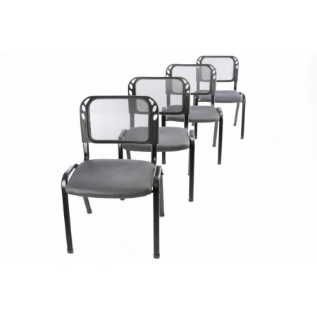 4 ks kovová židle s polstrovaným sedákem, šedá