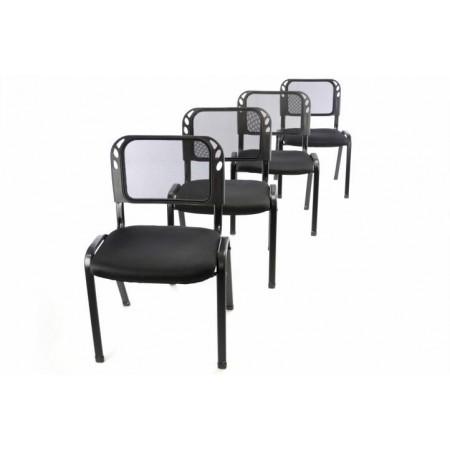 4 ks kovová židle s polstrovaným sedákem, černá