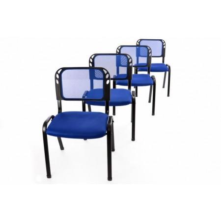 4 ks kovová židle s polstrovaným sedákem, modrá