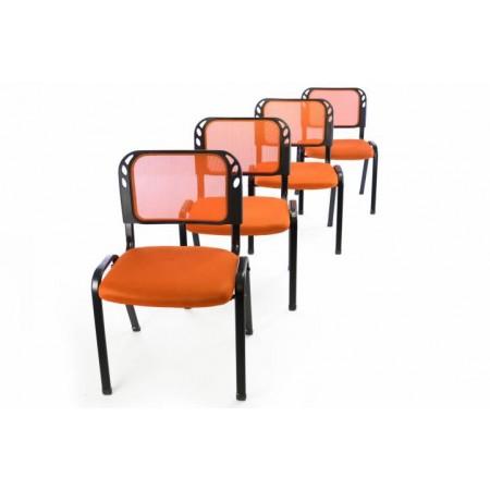 4 ks kovová židle s polstrovaným sedákem, oranžová