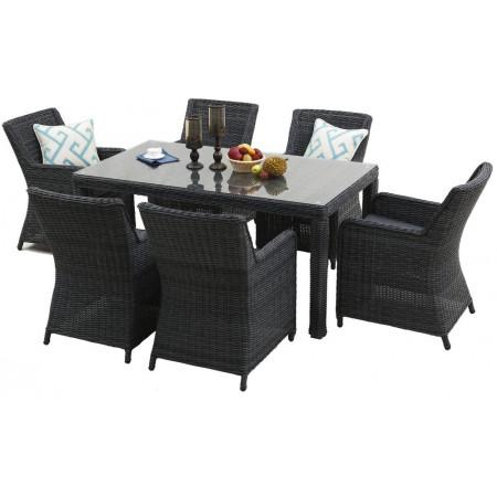 Luxusní zahradní ratanový set pro 6 osob, velký stůl, antracit / šedá