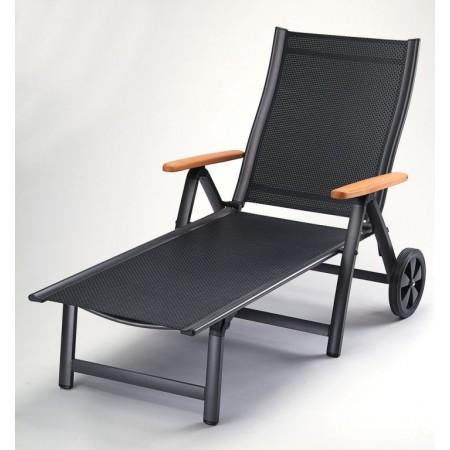 Hliníkové relaxační lehátko s kolečky, prodyšné polstrování, antracit / černá