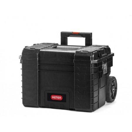Plastový kufr na nářadí a spoj. materiál, s kolečky, černý