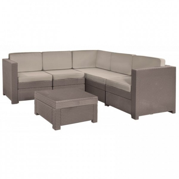 Terasový rohový set nábytku s menším stolkem, cappuccino
