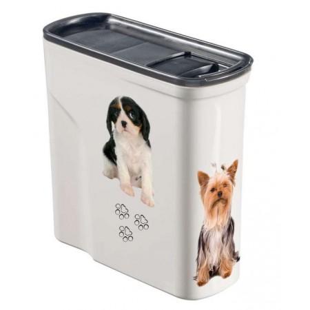 Plastová skladovací nádoba na granule, potisk pes, 2 L