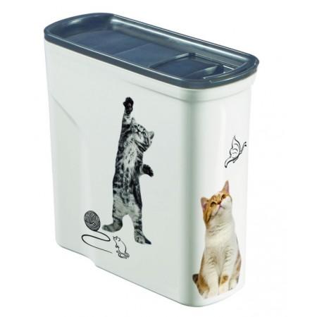 Plastová skladovací nádoba na granule, potisk kočka, 2 L