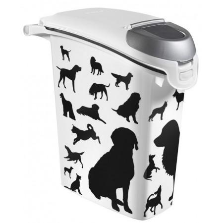 Plastová skladovací nádoba na granule, potisk psů, 10 kg