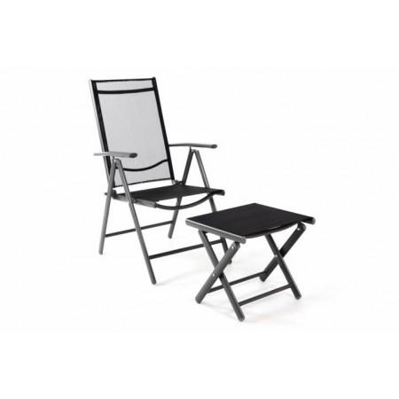 Zahradní židle s textilním polstrováním, vč. podložky pod nohy, antracit / černá