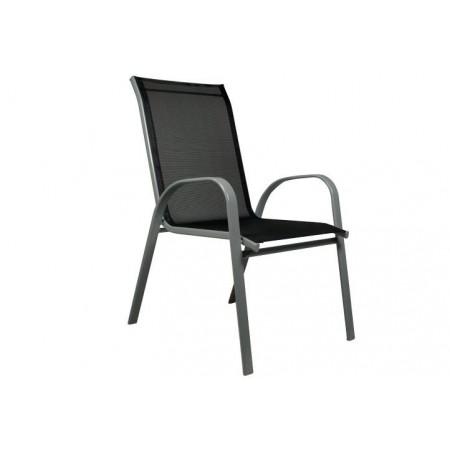 Levná kovová zahradní židle, textilní výplet, šedá / antracit