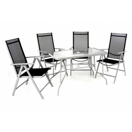 Sestava hliníkového zahradního nábytku, skládací židle, šedá / černá