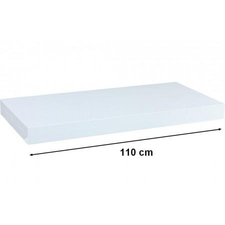 Elegantní nástěnná police, 110 cm, lesklá bílá