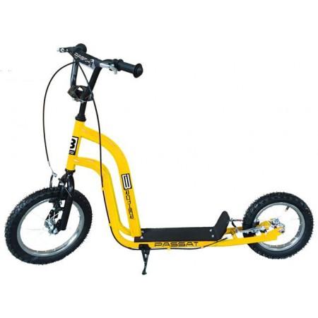 Koloběžka pro děti i dospělé s kovovým rámem, žlutá