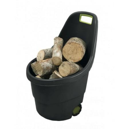 Plastový vozík na zahradu se 2 kolečky, 55 l, černá / zelená