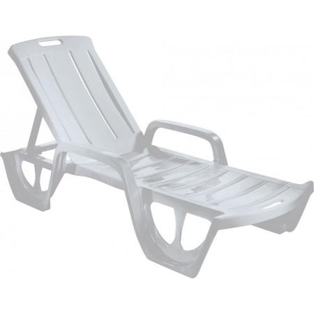 Relaxační plastové lehátko k bazénu, široké nohy, světle šedé