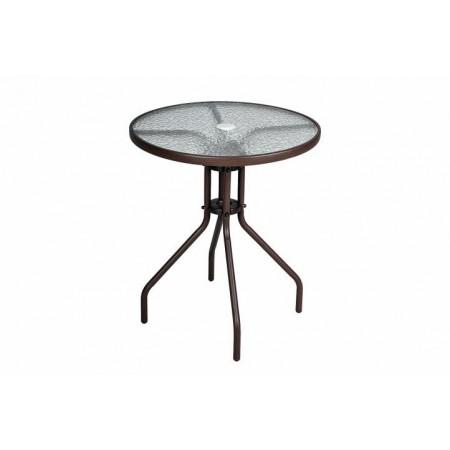 Kovový venkovní stolek kulatý, otvor pro slunečník, hnědý