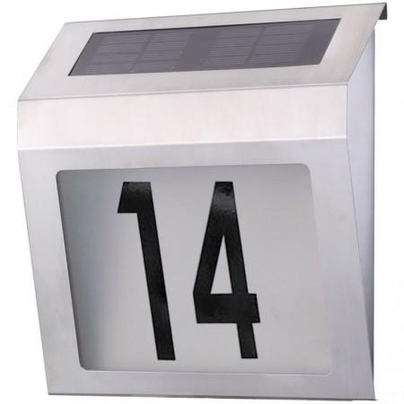 Osvětlení domovní číslo, solární napájení, nerez