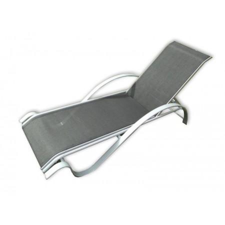 Elegantní zahradní lehátko s kovovým rámem, šedá / černá