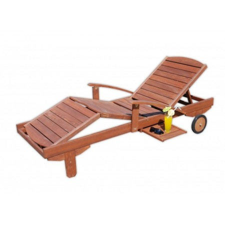 Nastavitelné dřevěné relaxační lehátko, vysouvací stolek