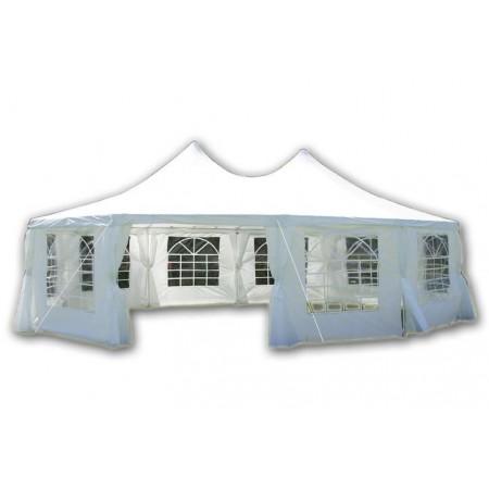 Velký nepromokavý zahradní stan 8,9x6,5 m, ocelová konstrukce, bílý