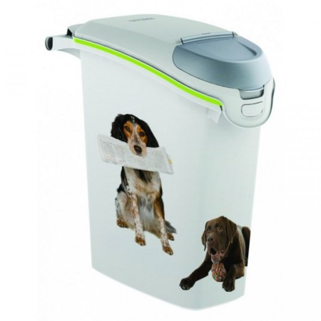Plastová skladovací nádoba na granule, potisk psi, 23 l
