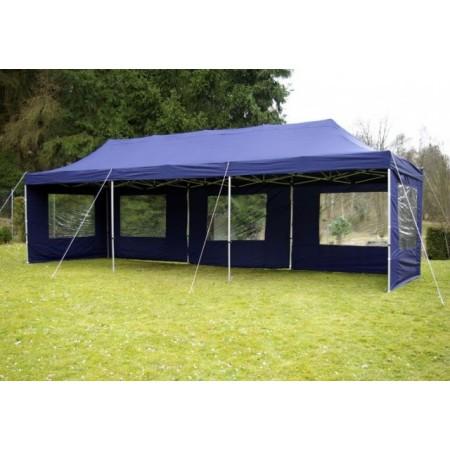 Zahradní stan s nůžkovým systémem - modrý, obdélník 3x9 m