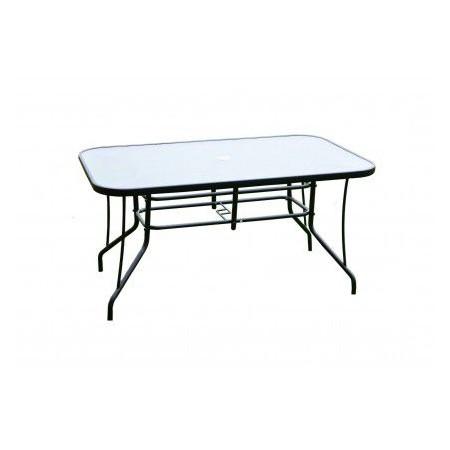 Ocelový venkovní stůl se skleněnou deskou, obdélníkový